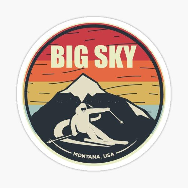 Retro Skiing Big Sky Montana USA Sticker