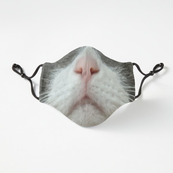 Gray Cat Face Mask Fitted 3-Layer