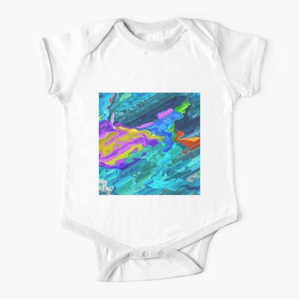 Colorful Abstract Acrylic Art Short Sleeve Baby One-Piece
