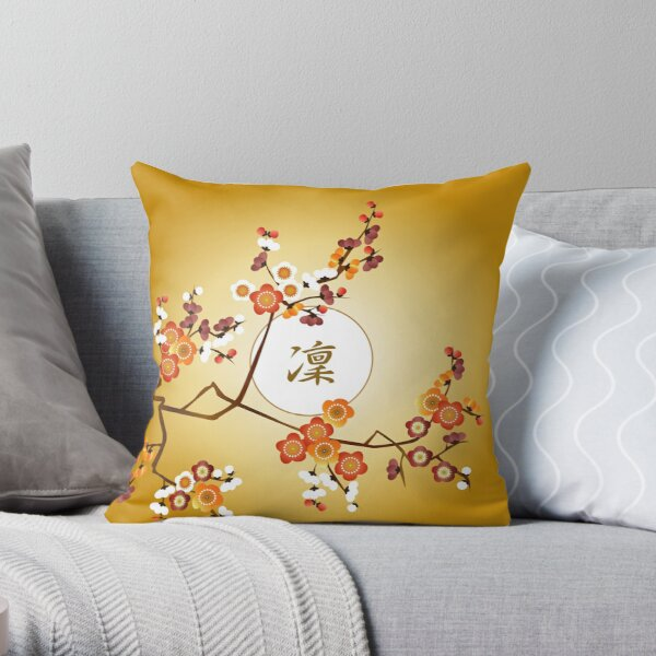 Japanese Plum Blossoms Dignified Moon Branch Gold Orange Throw Pillow