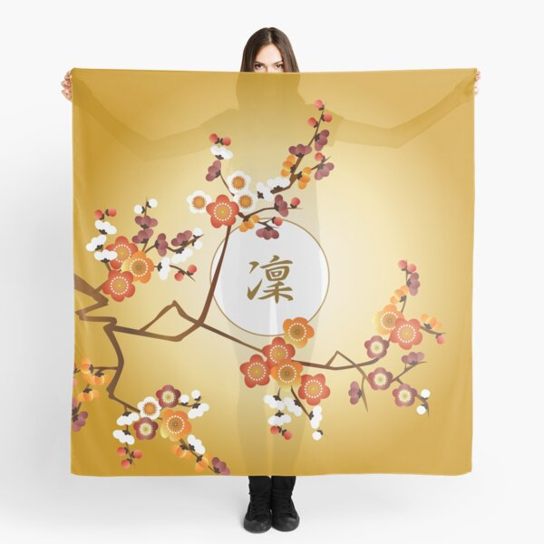 Japanese Plum Blossoms Dignified Moon Branch Gold Orange Scarf