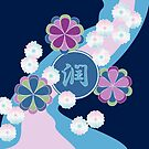 Japanese Chrysanthemums Floating Floral River Pink Blue Nagarekiku by Beverly Claire Kaiya