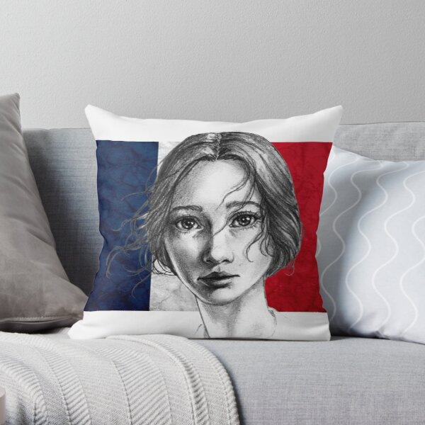 Portrait of a Young, French Girl Throw Pillow