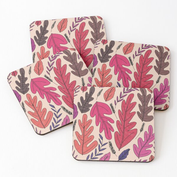 Red Autumn Leaves  Coasters (Set of 4)