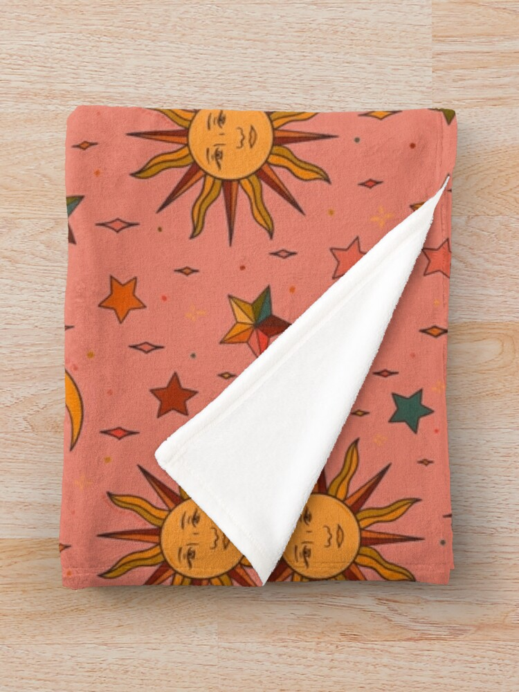 Alternate view of Folk Moon and Star Print Throw Blanket