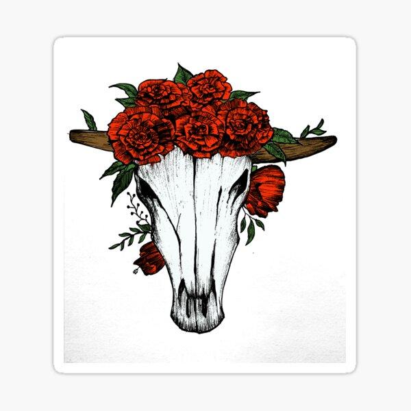Skull Bull rose Sticker