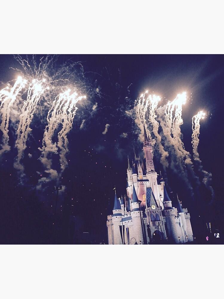 Magic Kingdom Castle With Fireworks by samroxhersox