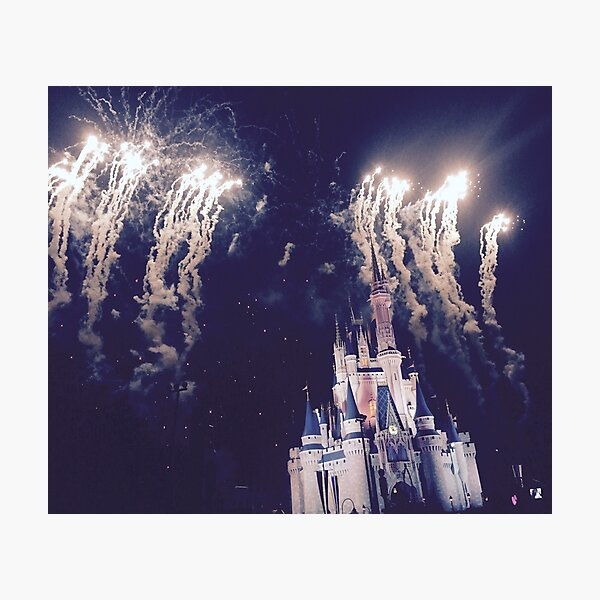 Magic Kingdom Castle With Fireworks Photographic Print