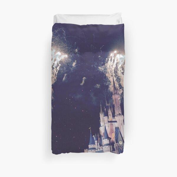 Magic Kingdom Castle With Fireworks Duvet Cover