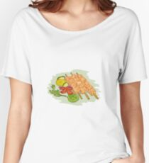 Chicken Kebabs Vegetables Drawing Women's Relaxed Fit T-Shirt
