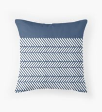 Herringbone Boarder Navy Throw Pillow