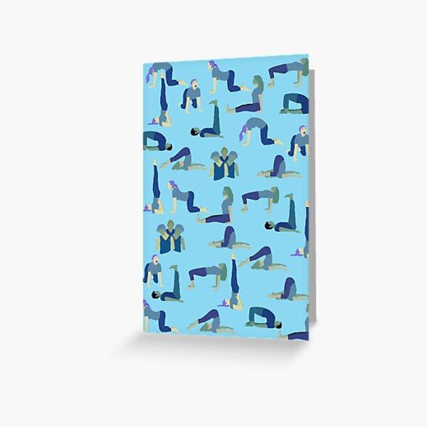 Yoga poses for Throat Chakra Visuddha by YogaMap/YogicFoods - BLUE Greeting Card