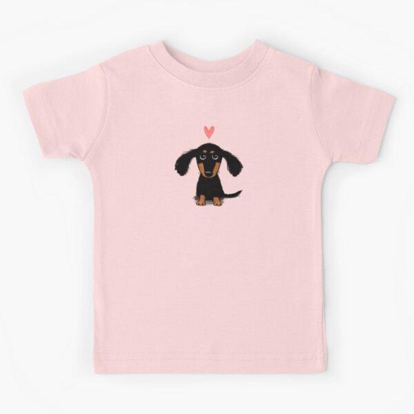 Amor de cachorro de Dachshund   Lindo perro salchicha negro y fuego con corazón Camiseta para niños