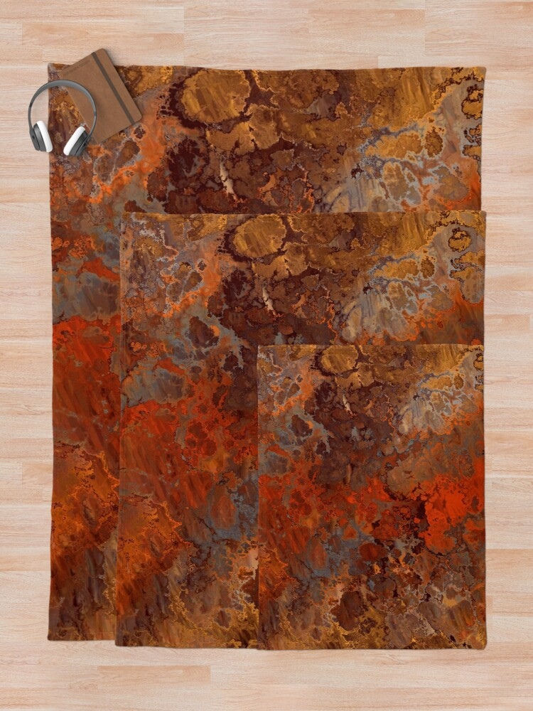 Alternate view of Gold and Rust Throw Blanket