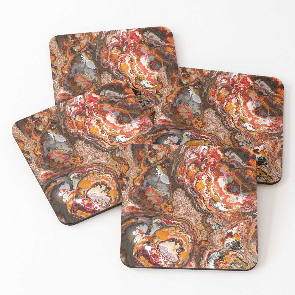 Gold Red and Rust Fractal Coasters (Set of 4)