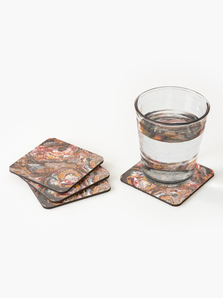 Alternate view of Gold Red and Rust Fractal Coasters (Set of 4)