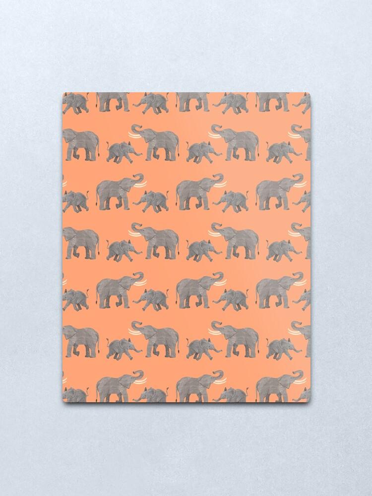 Alternate view of Cheerful Elephants Metal Print