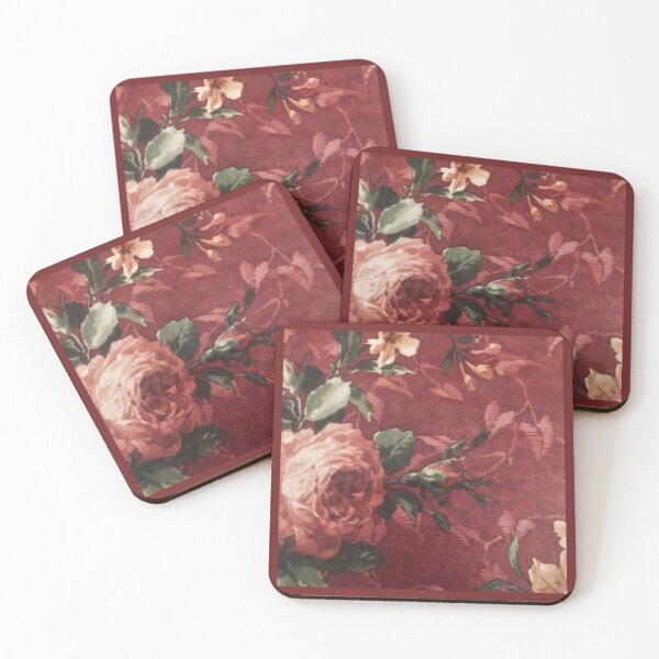 Shabby Chic Vintage Cabbage Rose Burgundy Wallpaper Art Coasters (Set of 4)