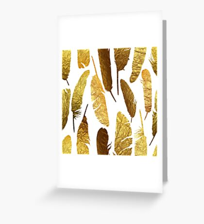 - Golden feathers on a white background - Greeting Card