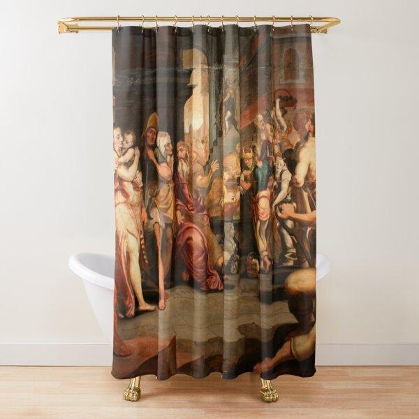 Painting: les ouvriers de la renaissance. Workers In The Vineyard, Oil On Panel, Circle Of Frans Floris, 16th Shower Curtain