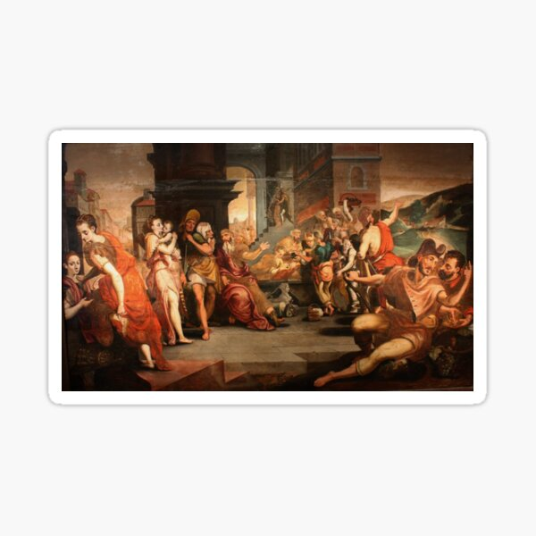 Painting: les ouvriers de la renaissance. Workers In The Vineyard, Oil On Panel, Circle Of Frans Floris, 16th Sticker