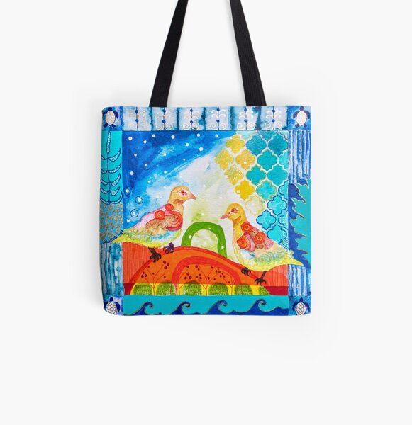 Two Turtle Doves (socially distancing!)  All Over Print Tote Bag