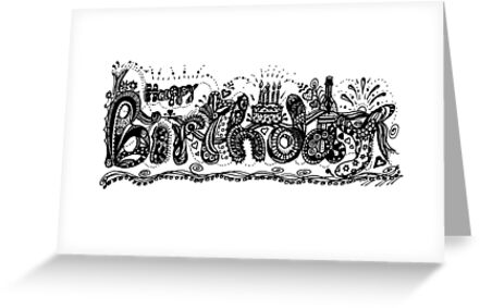 Happy birthday aussie tangle black white by heatherian
