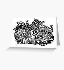 Fruit 1 - An Aussie Tangle Black & White  Greeting Card