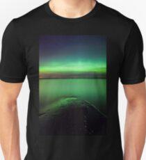 Northern lights glow over lake Unisex T-Shirt