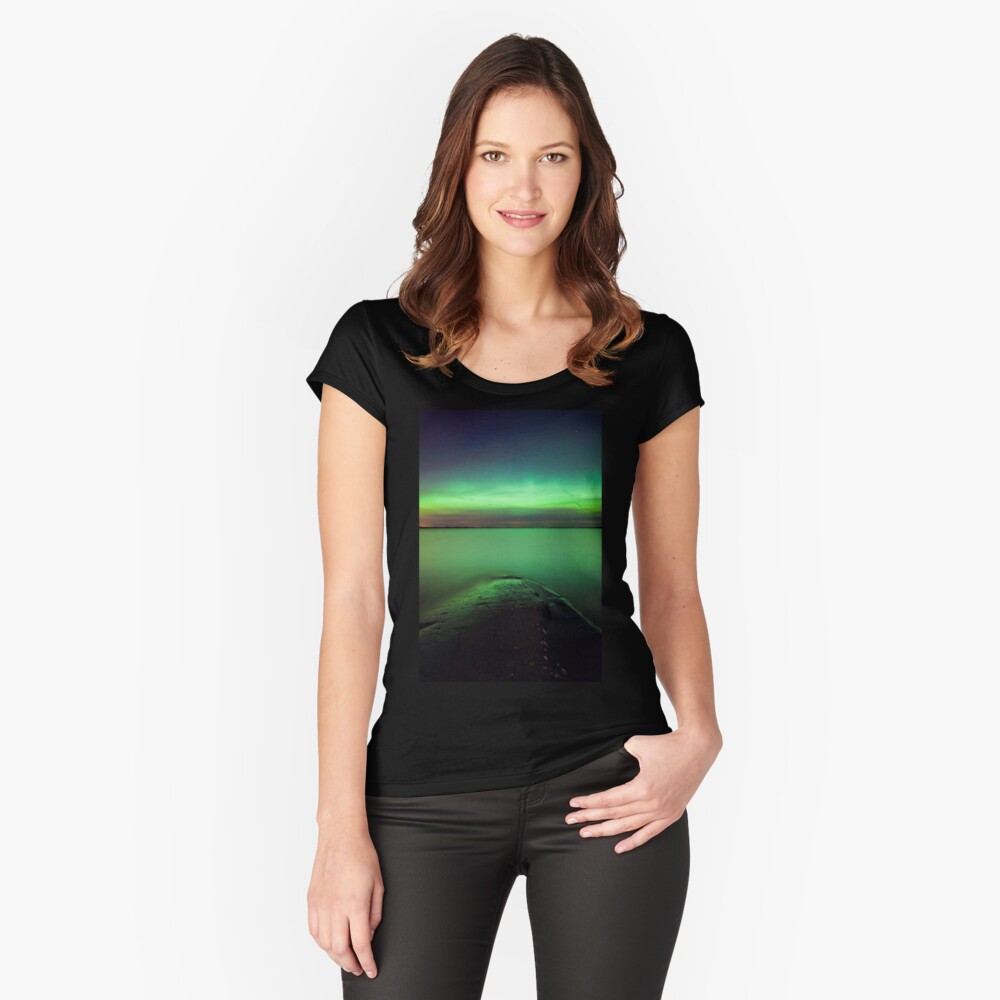 Northern lights glow over lake Fitted Scoop T-Shirt