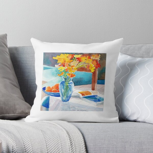 Poppies in a Blue Vase Throw Pillow