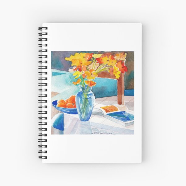Poppies in a Blue Vase Spiral Notebook