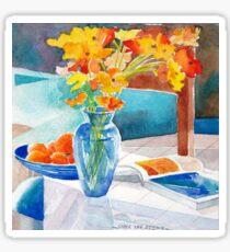 Poppies in a Blue Vase Sticker