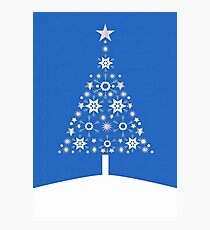 Christmas Tree Made Of Snowflakes On Blue Background Photographic Print