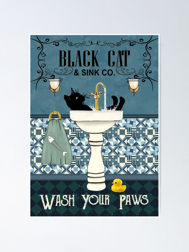 Alternate view of Black Cat Sink Co Wash Your Paws, Bathroom Decor, Black Cat Poster