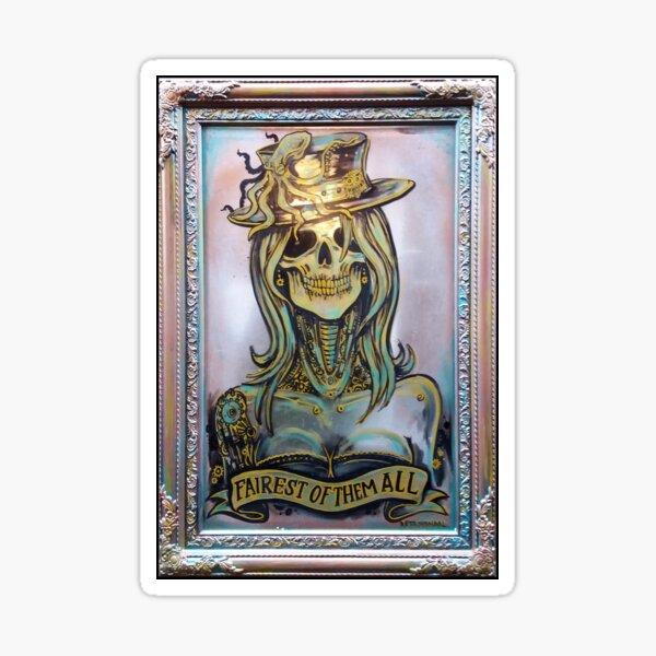 Steampunk Skull Lady Mirror Artwork  Sticker