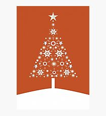 Christmas Tree Made Of Snowflakes On Orange Background Photographic Print