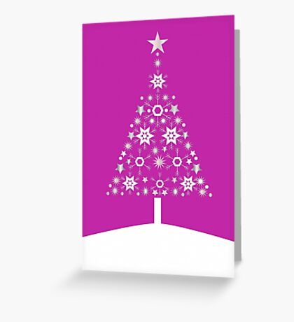 Christmas Tree Made Of Snowflakes On Pink Background Greeting Card