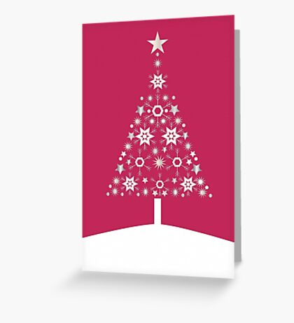 Christmas Tree Made Of Snowflakes On Red Background Greeting Card