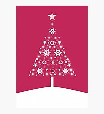 Christmas Tree Made Of Snowflakes On Red Background Photographic Print