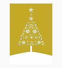 Christmas Tree Made Of Snowflakes On Gold Background Photographic Print