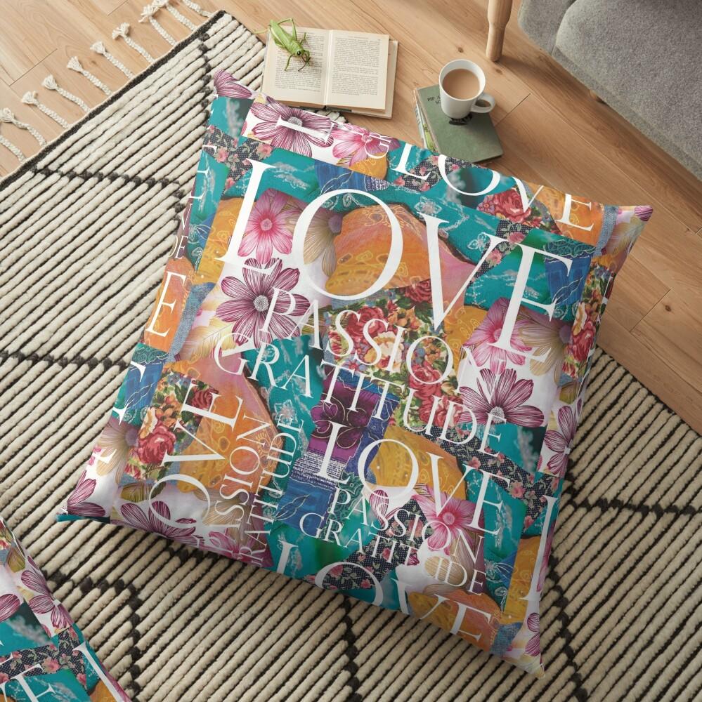 Love, Passion Gratitude Patchwork Floor Pillow
