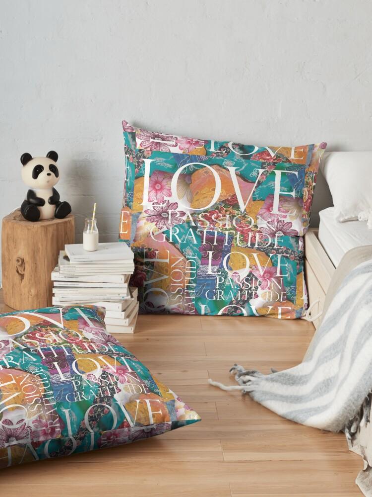 Alternate view of Love, Passion Gratitude Patchwork Floor Pillow