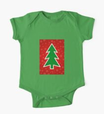 Christmas Tree on Red Background With Snowflakes Kids Clothes