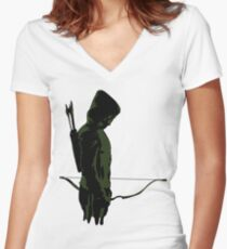 Green Arrow - Oliver Queen Women's Fitted V-Neck T-Shirt