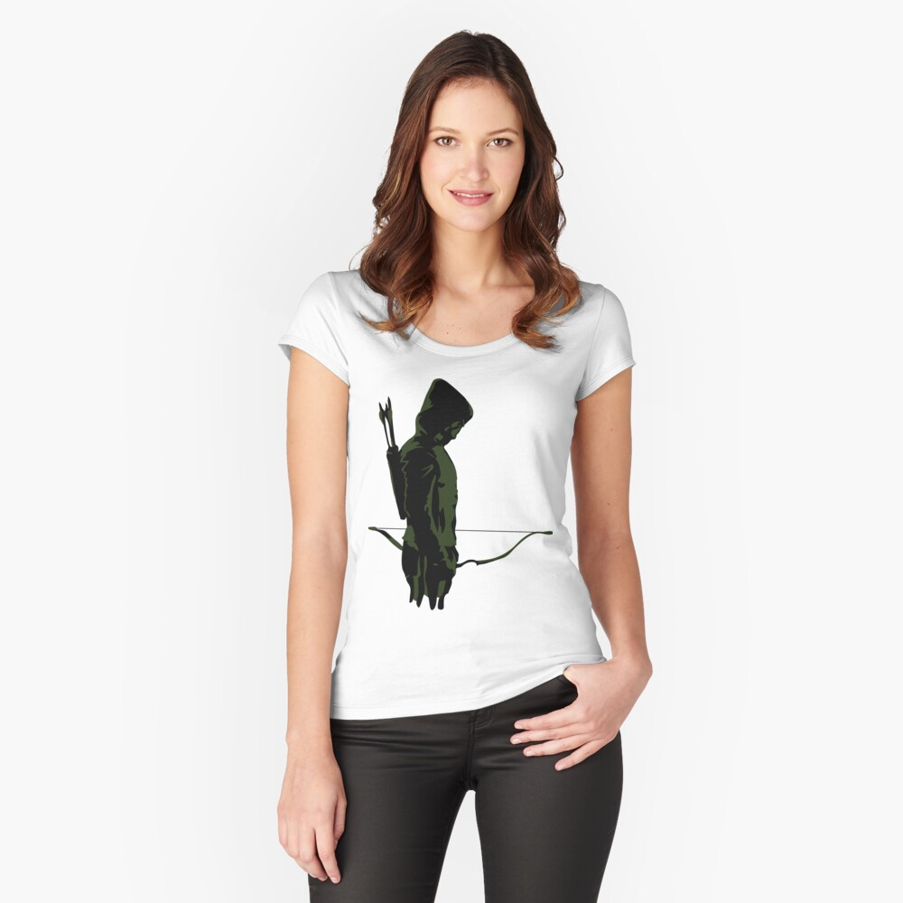 Green Archer with Arrow Fitted Scoop T-Shirt