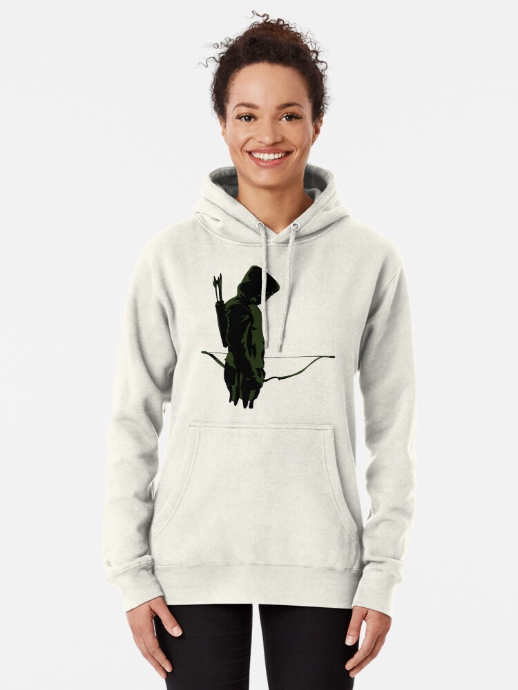 Alternate view of Green Archer with Arrow Pullover Hoodie