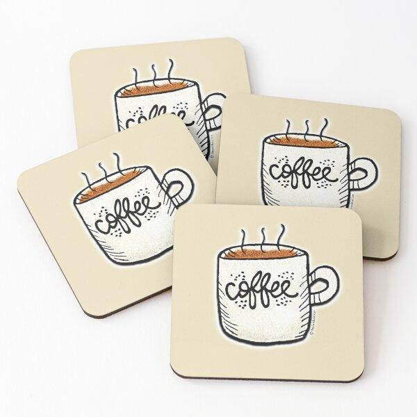 Cute Coffee Cup Mug Coasters (Set of 4)