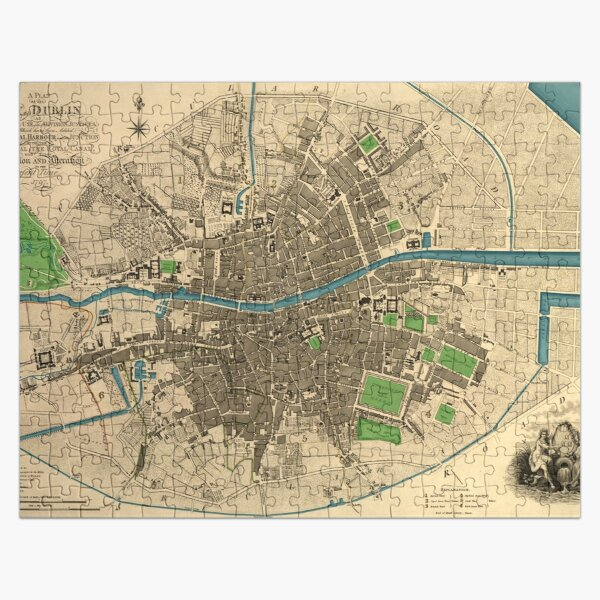 Dublin city map. Vintage colourised restored map. Jigsaw Puzzle