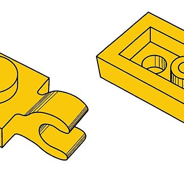The Lego Bright Yellow Plate 2X1 W-Holder, Vertical by mecanolego